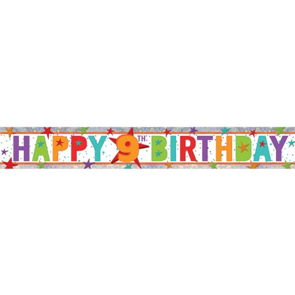 Holographic Happy 9th Birthday Foil Banner